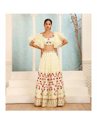 Lemon Yellow Pearl and Stone Embossed Lehenga Set