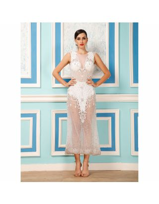 White Pearl Beads Long Party Dress
