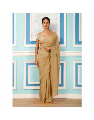 Golden Saree with Embroidered Blouse