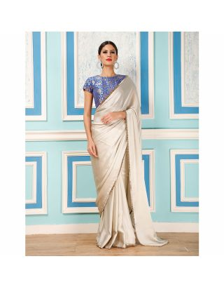 Silver Saree with Blue Brocade Blouse