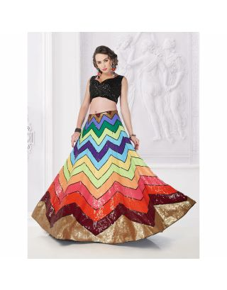 Black Crop Top with Multicolor Skirt