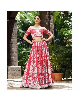 Red Crop Top with Embroidered Lehengha