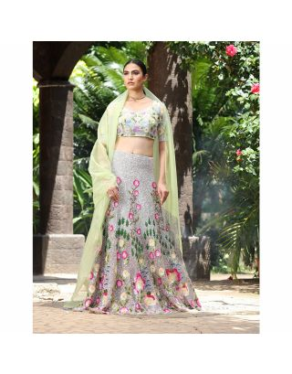 Grey Sequins Embroidered Lehenga Set