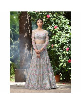 Grey Beaded Embroidered Lehengha Set
