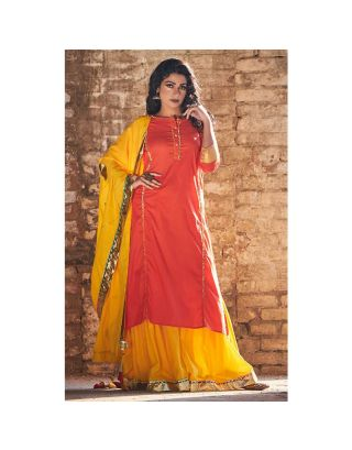 Peach and Yellow Sharara set