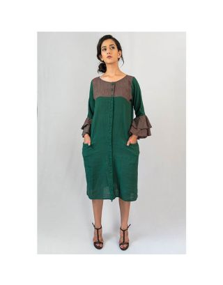 Bottle Green Ruffle Dress