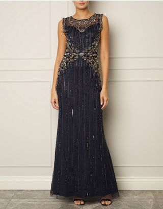 Navy Embellishment Maxi Gown