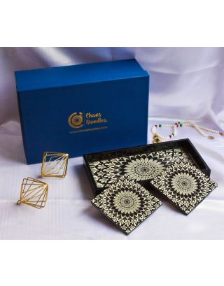 Intricate Ivory Wooden Tray with 2 Coasters Set with Gift Box