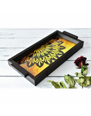 Yellow Wooden Mandala Pattern Tray