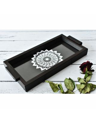 Black Wooden Mandala Pattern Tray