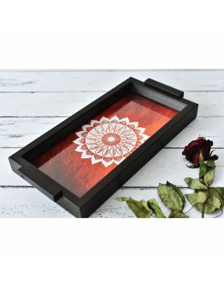 Orange Wooden Mandala Pattern Tray