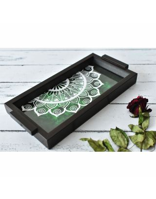 Emerald Wooden Mandala Pattern Tray