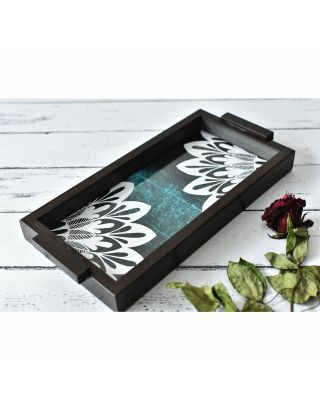 Blue Wooden Abstract Tray