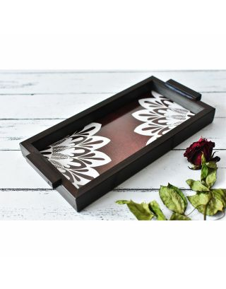 Brown Wooden Abstract Tray