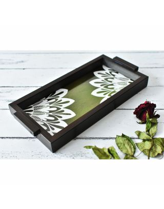 Green Wooden Abstract Tray