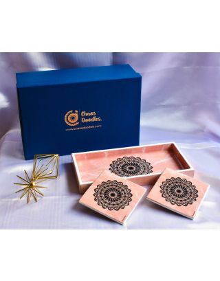 Pink Marble Wooden Tray with 2 Coasters Set with Gift Box