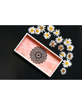Pink Marble Wood and Resin Tray with Gift Box