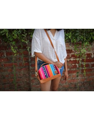 Striped Rainbow Messenger Sling