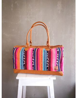 Striped Rainbow Runway Duffle Bag