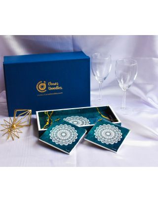 Turquoise Gold Wooden Tray with 2 Coasters Set with Gift Box