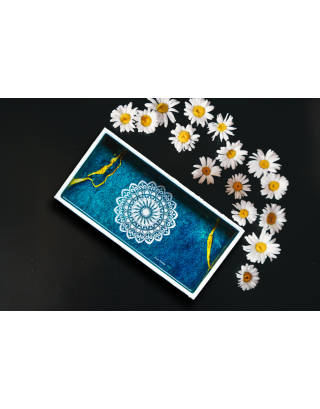 Turquoise Wood and Resin Tray with Gift Box
