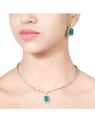 Solitaire Green Pendant Necklace Set