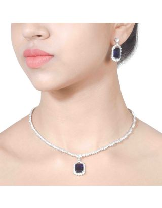 Solitaire Blue Pendant Necklace Set