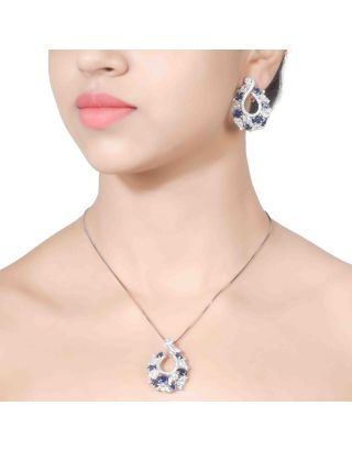 Blue Zirconia Pendant Chain with Earrings