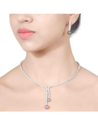Solitaire Grey Pearl Pendant Necklace Set