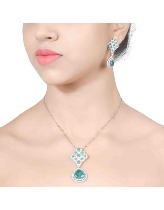 Green Zirconia Pendant Chain with Earrings