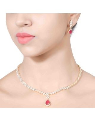 Solitaire Ruby Pendant Necklace Set