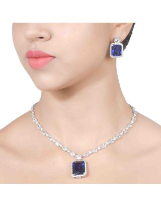 Zirconia Blue Pendant Necklace Set