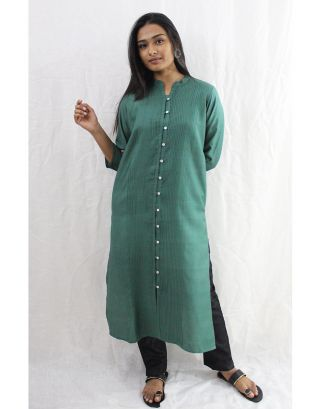 Green Tussar cotton kurti