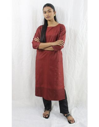 Brown Tussar Cotton Kurti