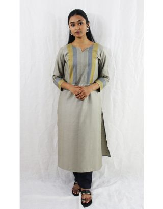 Grey Tussar Cotton Kurti