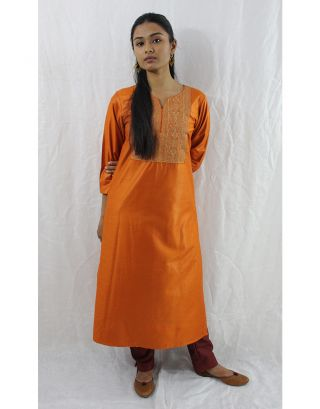 Orange Tussar Cotton Kurti