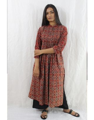 Red Pleated Kurti