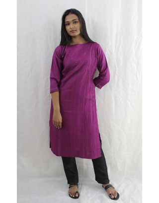 Purple Tussar Cotton Kurti