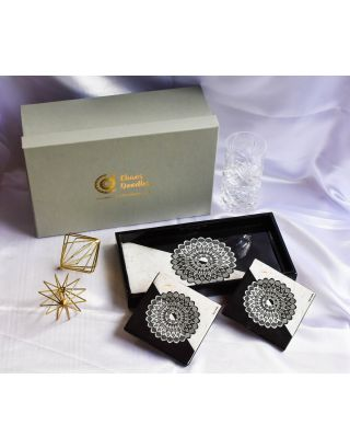 Yin and Yang Wooden Tray with 2 Coasters Set with Gift Box
