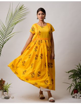 Mustard Printed Cotton Maxi Dress