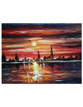 City Sunset Acrylic Canvas Painting