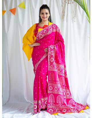 Pink Golden Printed Cotton Saree