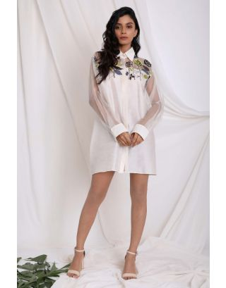 Ivory Yoke Embroidered Shirt
