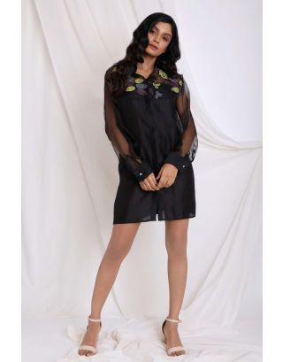 Black Yoke Embroidered Shirt
