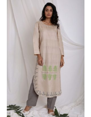 Beige Beaded & Printed Kurta