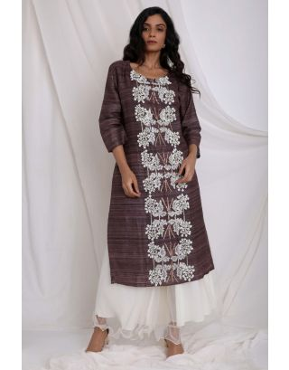 Brown Embroidered Kurta With Flair Pants