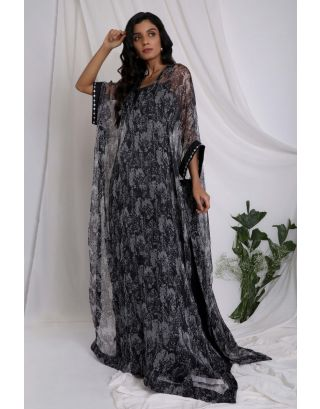 Black Rinted Sheer Kaftan And Jumpsuit