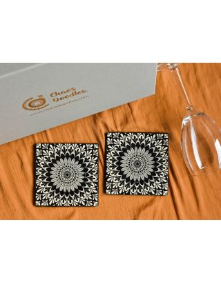 Intricate Ivory Handcrafted Table Coaster- Set Of 2