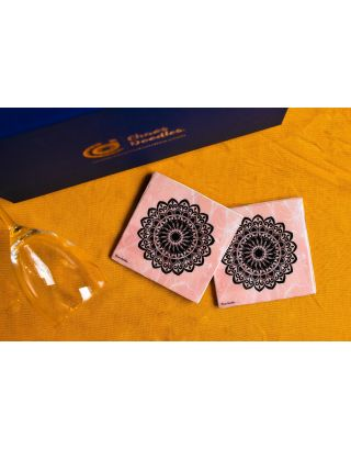 Pink Marble Texure Handcrafted Table Coaster- Set Of 2
