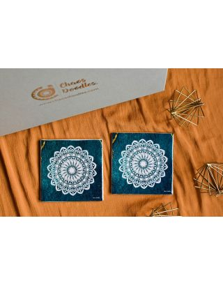 Turquoise Gold Handcrafted Table Coaster- Set Of 2